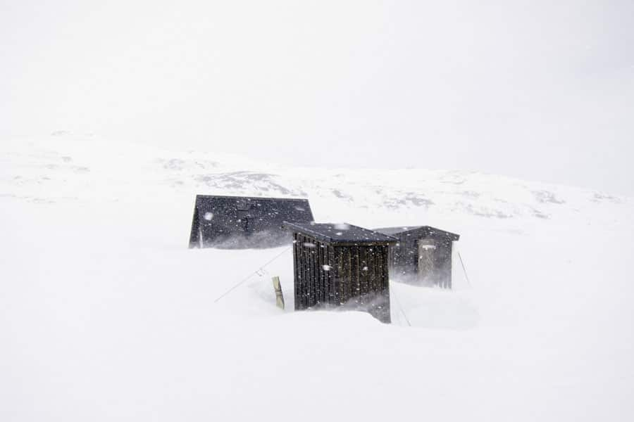Shelters-along-Kings-Trail,-Northern-Sweden.-